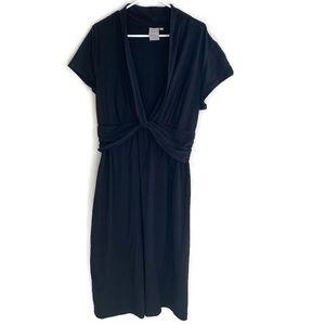 E shakti Black Deep V neck Maxi Ankle length Dress